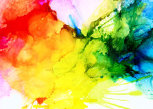 Abstract raster red yellow green blue. Colorful background hand drawn with bright inks and watercolor paints. Color splashes and splatters create uneven stock illustration