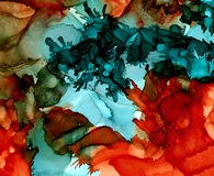 Abstract raster textured turquoise overlapping orange. Colorful background hand drawn with bright inks and watercolor paints. Color splashes and splatters Stock Photo