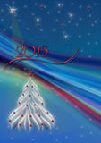 Abstract rays on blue background with snowflakes and Christmas tree Stock Photo
