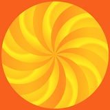 Abstract Rays of Curved Orange and Lemon Segments. Curved rays of orange and yellow segments in a circle set on an orange background royalty free illustration