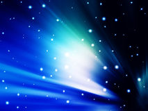 Abstract rays of light. Of aurora borealis in the nocturnal sky Stock Photos