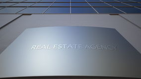 Abstract real estate agency signage board. Modern office building. 3D rendering Royalty Free Stock Photos