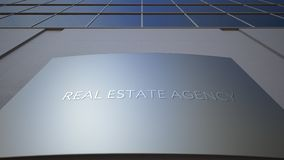 Abstract real estate agency signage board on modern office building. Abstract real estate agency signage board. Modern office building. 4K video stock video footage