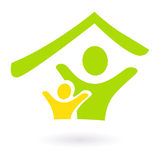 Abstract real estate, family or charity icon. Two people under roof icon. Vector Illustration Royalty Free Stock Photos