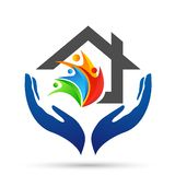 Abstract real estate people save House roof and hand taking care home logo vector element icon design vector on white background stock illustration