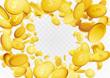 Abstract realistic coin swirl fortune frame background. Casino s. Uccess golden money or chips hovering in the air. Vector illustration Stock Photos