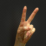 abstract realistic human hand image on black background, two fingers peace or victory sign vector illustration.  Stock Image