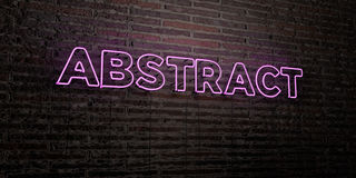 ABSTRACT -Realistic Neon Sign on Brick Wall background - 3D rendered royalty free stock image Royalty Free Stock Photos