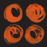 Abstract realistic round strokes drawn thick orange paint Stock Photography