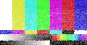 Abstract realistic screen glitch flickering, analog vintage TV signal with bad interference and color bars, static noise. Background, overlay ready stock footage