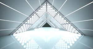 Abstract Realistic Triangle Sci-Fi Corridor. 3D Rendering Of Abstract Realistic Triangle Sci-Fi Corridor With Lighted Grid Mesh Stock Photo