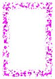 Abstract rectangle frame made of purple hearts on white background, A4 paper with love concept pink border, Valentine Day card Royalty Free Stock Photography