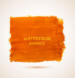 Abstract rectangle orange watercolor hand-drawn. Banner. Vector illustration Royalty Free Stock Photography