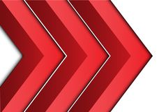 Abstract red arrow 3D on white direction design modern futuristic background vector. Illustration Royalty Free Stock Photography