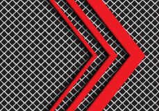 Abstract red arrow direction on grey square mesh design modern futuristic background vector. Illustration stock illustration