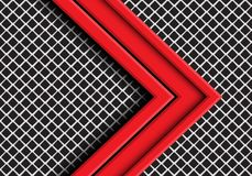 Abstract red arrow direction overlap on grey metal square mesh design modern futuristic background vector. Illustration stock illustration