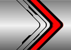 Abstract red arrow direction on silver black line design modern futuristic technology background vector. Illustration stock illustration