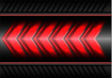 Abstract red arrow light power speed on gray metal design modern futuristic background vector. Illustration Royalty Free Stock Photos