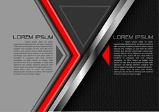 Abstract red arrow silver line on gray triangle black hexagon mesh design modern futuristic creative idea background vector. Royalty Free Stock Photography