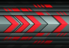 Abstract red arrow technology speed on gray metal design modern futuristic background vector Royalty Free Stock Photography