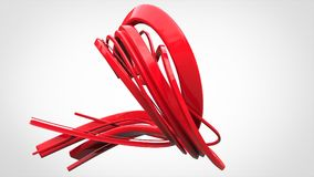 Abstract red art flow sculpture. Isolated on white background Stock Photo
