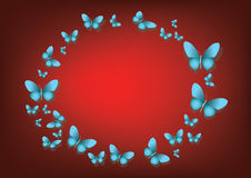 Abstract red background with blue paper butterflies Royalty Free Stock Photos