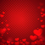 Abstract red background with bokeh effect hearts and halftone. p Stock Photography