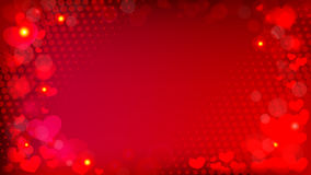 Abstract red background with bokeh effect hearts and halftone ve Royalty Free Stock Image