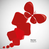 Abstract red background with butterfly. Vector. Stock Photos