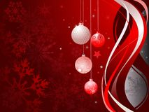 Abstract red background with Christmas balls Stock Images