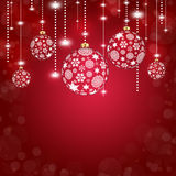 Abstract red background with christmas balls. Background with christmas balls and snowflakes and circles Stock Images