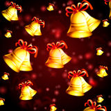 Abstract red background with christmas bells Stock Images