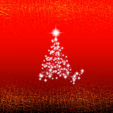 Abstract red background with christmas tree, waves and lights. Christmas illustration. Royalty Free Stock Photography