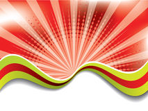 Abstract red background with colored waves Royalty Free Stock Image