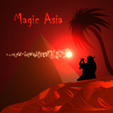 Abstract red background. Desert, pyramid, bedouin, red night. Magic Asia. Stock Images