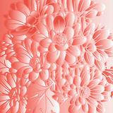Abstract red background with flowers. Illustration abstract red background with flowers Royalty Free Stock Photo
