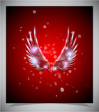 Abstract red background with glass  wings. Stock Image