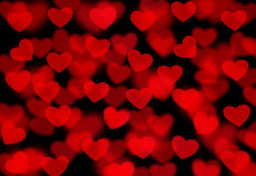 Abstract red background with hearts Stock Photo