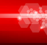 Abstract red background with hexagons Stock Photo