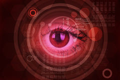 Abstract red background with human eye Stock Image