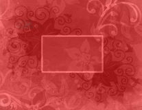 Abstract red background with layers of abstract flowers and curl flourishes and blank text box Royalty Free Stock Images
