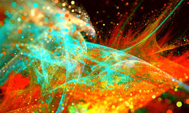 Abstract Red Background Lights Fractal glitter Wave with bokeh. Stock Photos