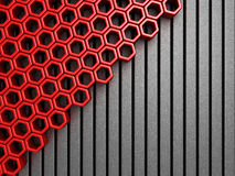 Abstract red background with metallic strip pattern. 3d render illustration royalty free illustration