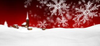 Abstract Red Background Panorama Winter Landscape with Falling S. Abstract Red Background Panorama Winter Landscape with Falling Filigree Snowflakes. Snowy royalty free illustration