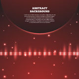 Abstract red background with planet. Galaxy and earth, sunrise a Stock Photo