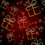 Abstract red background with presents Stock Photo
