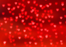 Abstract red background with red heart shaped bokeh lights Stock Photo