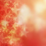 Abstract red background and stars. Bokeh Royalty Free Stock Images