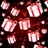 Abstract red background with white presents Stock Photo