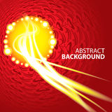 Abstract red background with yellow rays, receding Royalty Free Stock Images